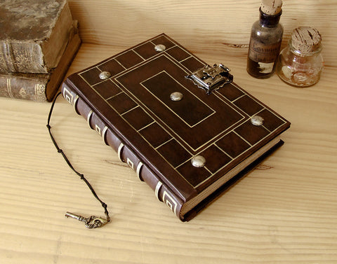 """Secret Words"" - Antiqued Leather Journal with Lock and Key"