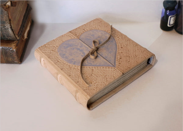 "Natural Leather Journal with Violet Heart Decoration, ""Diary of a True Love"""