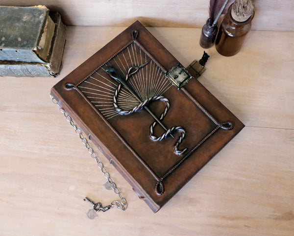 Large leather notebook with lock and key, Blank artist book, The Magic Serpent