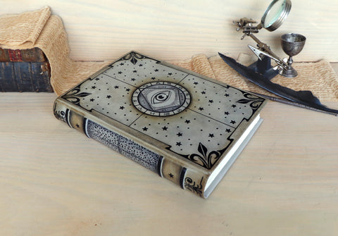 The Mysterious Tome - Dark Leather Book with Black Pages