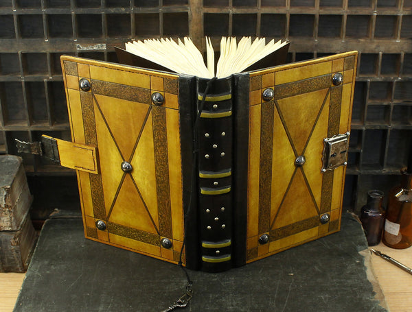 "Leather Journal with Lock and Key, Yellow Antiqued Leather - ""Full Moon"""