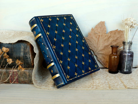 Brown Leather Journal / Large Blank Book, Tooled Decoration - Autumn Mornings