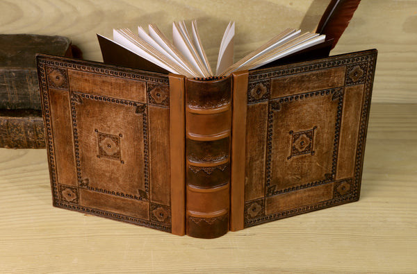 Tooled Leather Journal, Brown Leather, Thick Notebook - Journey through Time