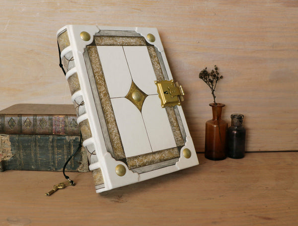 Medieval art book, White leather journal with Lock and key - White Heirloom