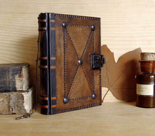 "Journal with Lock and Key, Antique Brown Leather - ""The Brown Book"""