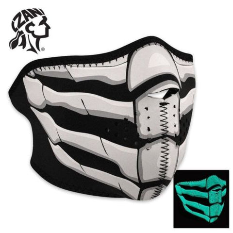 Zan Headgear Glow in the Dark Bone Breath Neoprene Half Face Mask