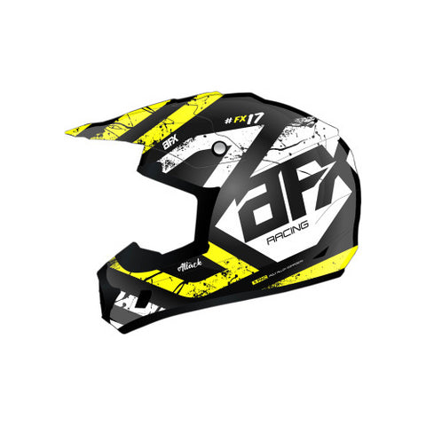 AFX FX-17 Attack Youth Helmet - Matte Black/Hi-Vis Yellow - Large