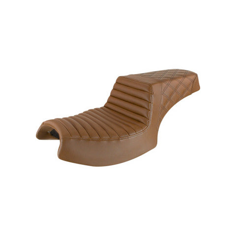 Saddlemen Step Up Seat for Indian Challenger models - Brown-Tuck and Roll with Rear Lattice Stich - I20-06-176BR