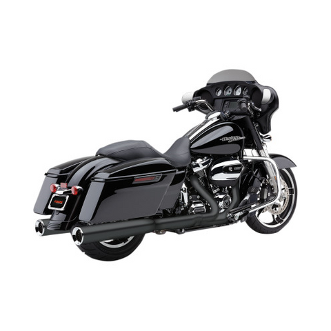 Cobra Powr-Flo Slip-On Mufflers for 1995-16 Harley FLH / FLT - 4.5 Inch - Black - 6215RB