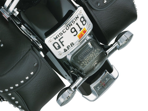 Kuryakyn 9171 - Curved Laydown License Plate Mount with Frame for Harley-Davidson and Honda - Chrome