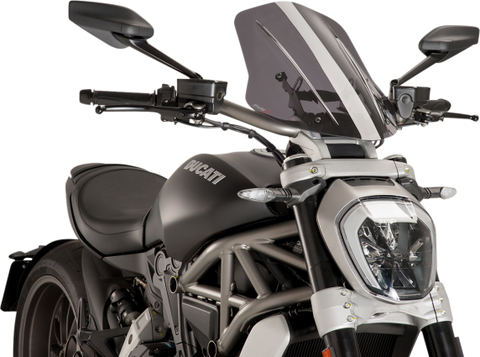Puig Naked Gen Touring Windscreen for 2016-18 Ducati XDiavel - Smoke - 8922H