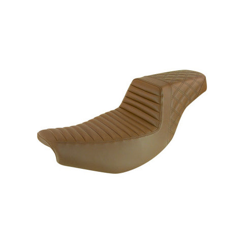 Saddlemen Step Up Seat for 2014-20 Indian Touring models - Light Brown-Tuck and Roll with Rear Lattice Stich - I14-07-176BR