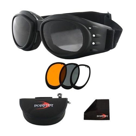 Bobster BCA2031AC Cruiser 2 Goggles (Black Frame) 3 Interchangeable Lenses