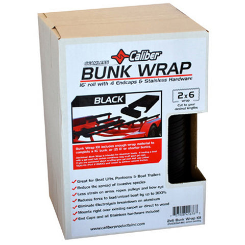 Caliber Bunk Wrap Kit with End Caps - 16ft x 2in x 6in - Black - 23052-BK