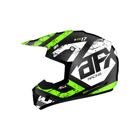 AFX FX-17 Attack Youth Helmet - Matte Black/Green - Small