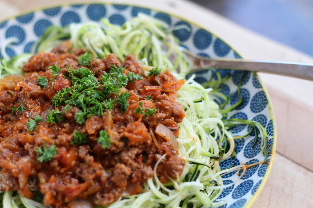 Spaghetti Bolognese with Courgette Noodles