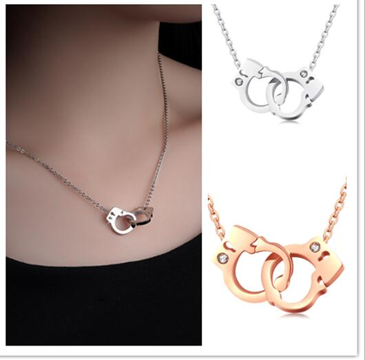 Silver/ Rose Gold Stainless Steel Double Handcuffs Design Necklace Pendant 18''