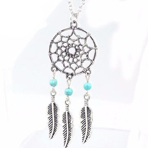 Bohemian Style Dreamcatcher Feather Wings Shaped Pendant Necklace