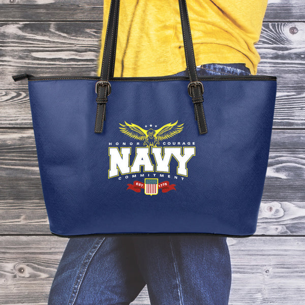 Navy Small Leather Tote Bag