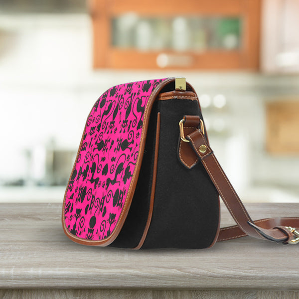 Cats Pink Saddle Bag