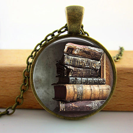 Library Book Case Necklace Vintage Style