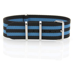 Nylon NATO Watch Strap (Black and Blue)