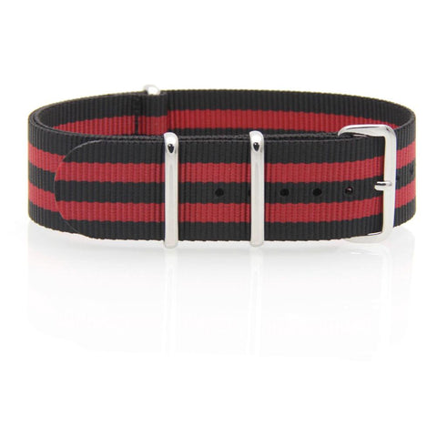 Nylon NATO Watch Strap (Black and Red)