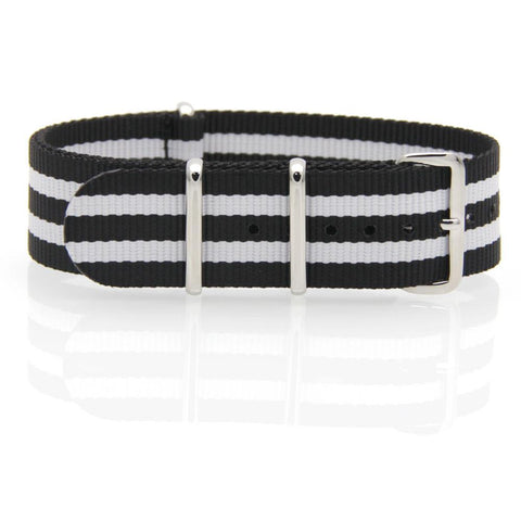 Nylon NATO Watch Strap (Black and White)