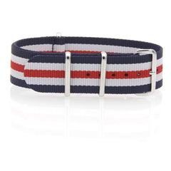 Nylon NATO Watch Strap (Blue, White and Red)