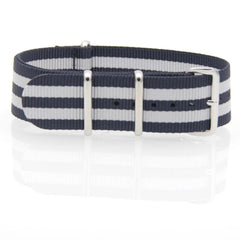 Nylon NATO Watch Strap (Dark Blue and White)