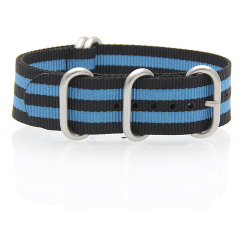 Nylon ZULU Watch Strap (Black and Blue)