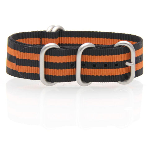 Nylon ZULU Watch Strap (Black and Orange)