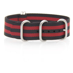 Nylon ZULU Watch Strap (Black and Red)