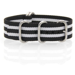 Nylon ZULU Watch Strap (Black and White)