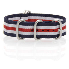 Nylon ZULU Watch Strap (Blue, White and Red)