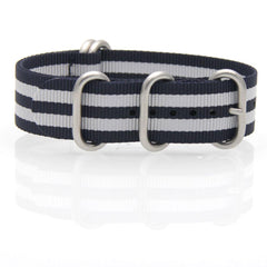 Nylon ZULU Watch Strap (Dark Blue and White)
