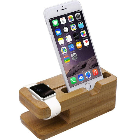 Third-Party 2 in 1 Apple Watch Stand Bamboo Wood