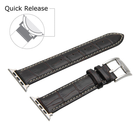 Third-Party Apple Watch Alligator Square Grain Calf Leather Watch Strap