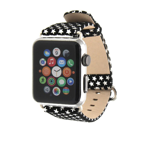 Third-Party Apple Watch Stars Design Calf Leather Band