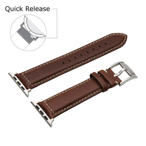 Third-Party Apple Watch Vintage Calf Leather Watch Strap (White Stitching)