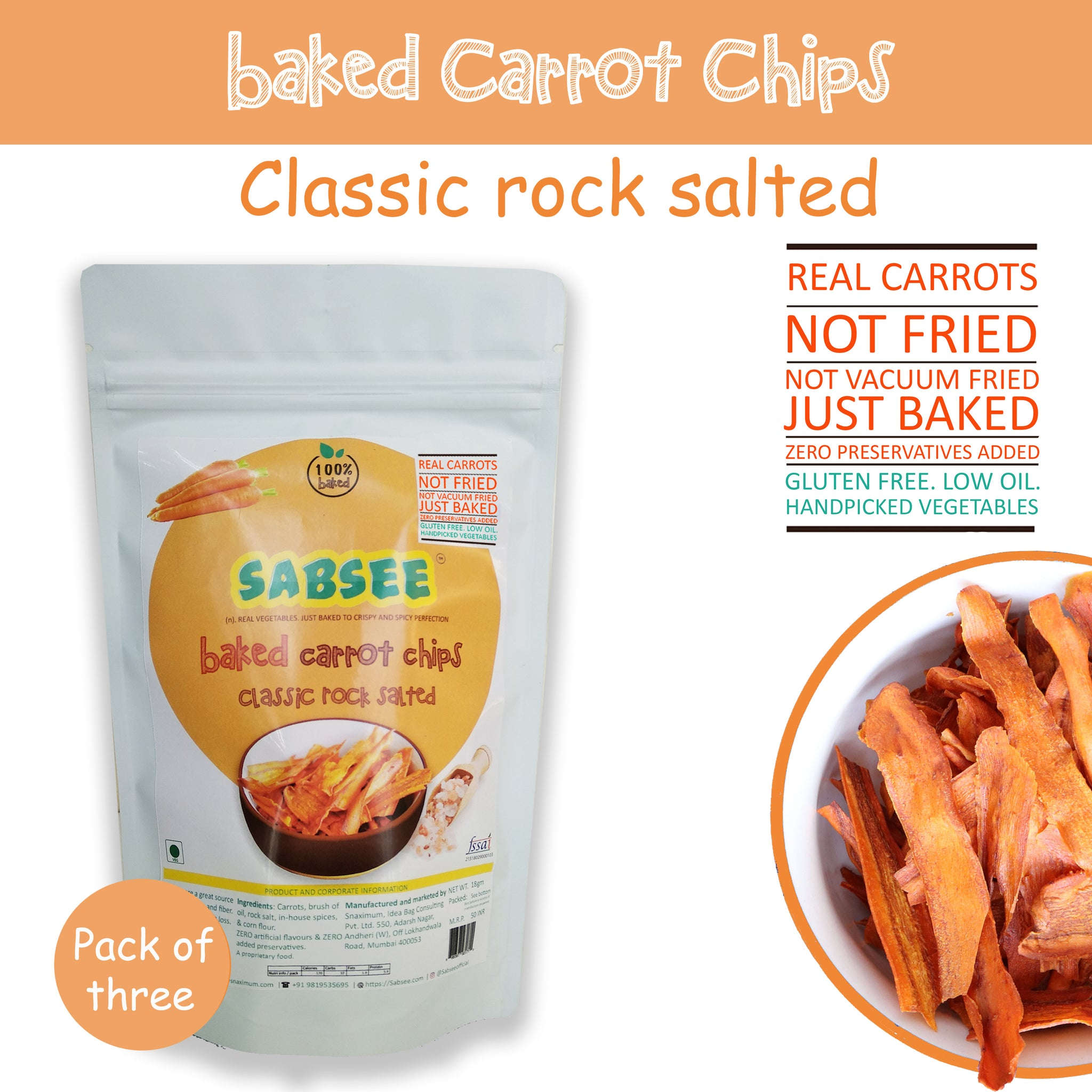 Baked carrot Chips - Classic rock salted