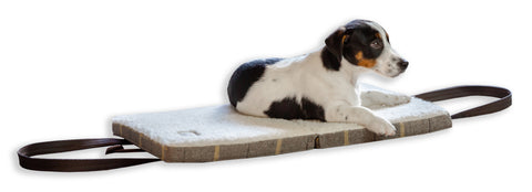 Jack Russel Terrier puppy asleep on a KONA CAVE® Travel Dog Bed with real wool lining
