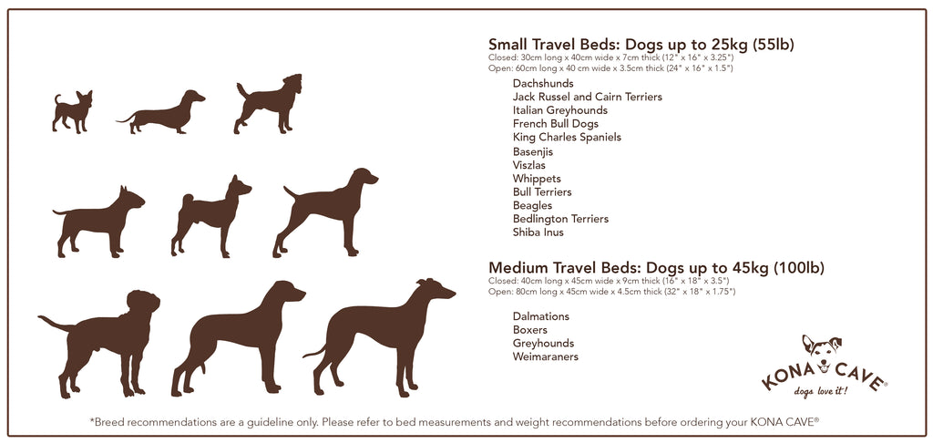 KONA CAVE Designer Dog Bed Sizing Chart - beautiful dog beds for small and large dogs