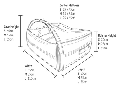 Dimensions of the KONA CAVE<sup>®</sup> Snuggle Cave Bed