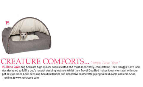 KONA CAVE® premium Snuggle Cave Dog Bed. Dogs love them!  Our grey flannel bed was highlighted in TATLER Magazine.