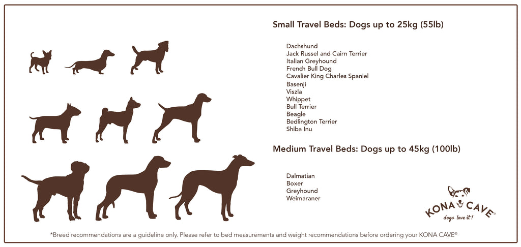 Not sure what size travel dog bed will be most comfortable for your dog? Let us help you decide with some breed recommendations, based on weight and how your dog likes to sleep
