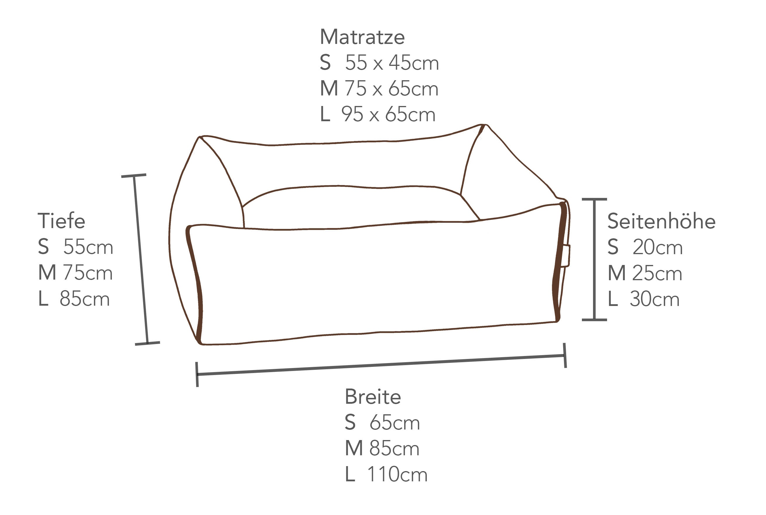 KONA CAVE® Bolster Bed Dimensions