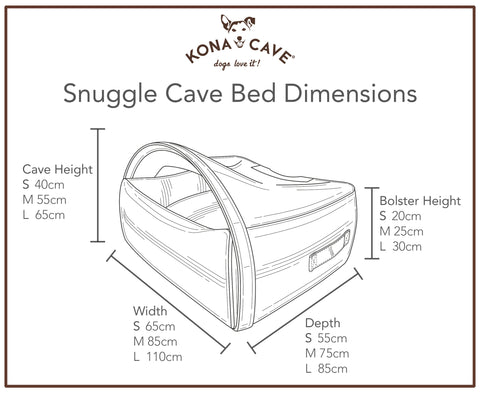 Diagram showing an illustration and measurements of the Snuggle Cave Bed by KONA CAVE®