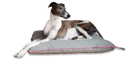 KONA CAVE thick, padded flat dog bed for big dogs, grey flannel with pink trim, washable