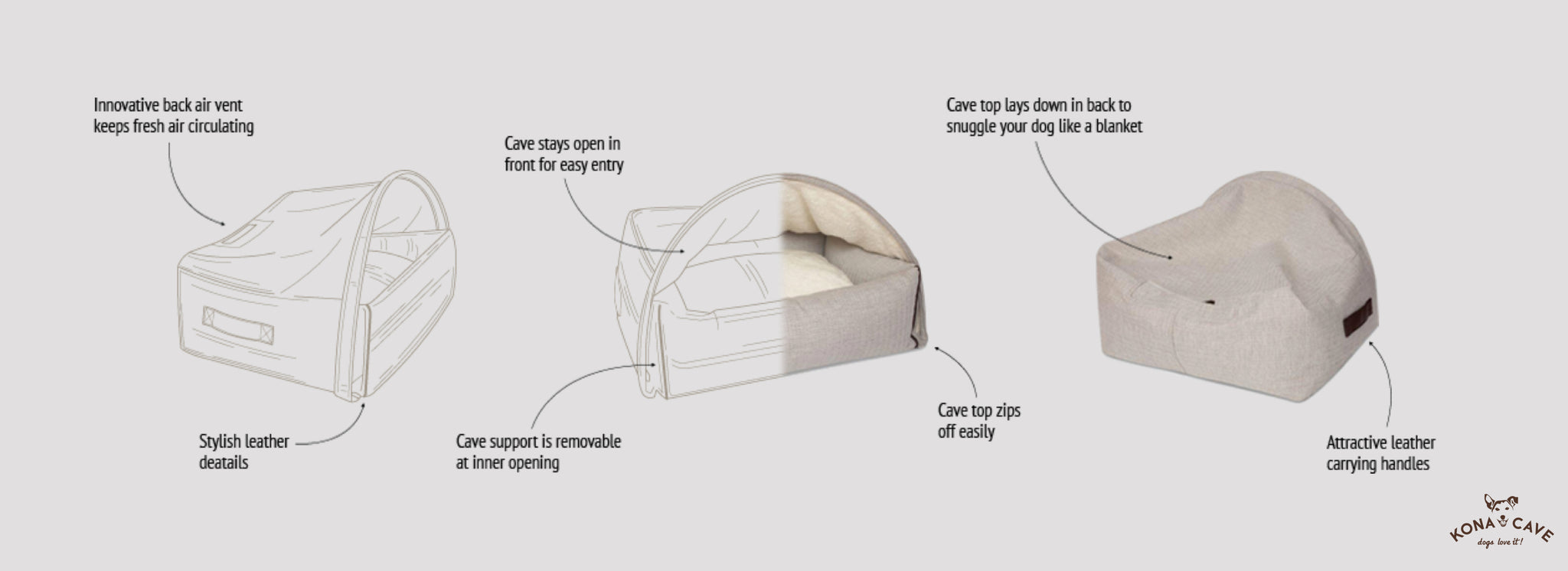 Kona Cave Snuggle Cave Dog Bed patent protected design